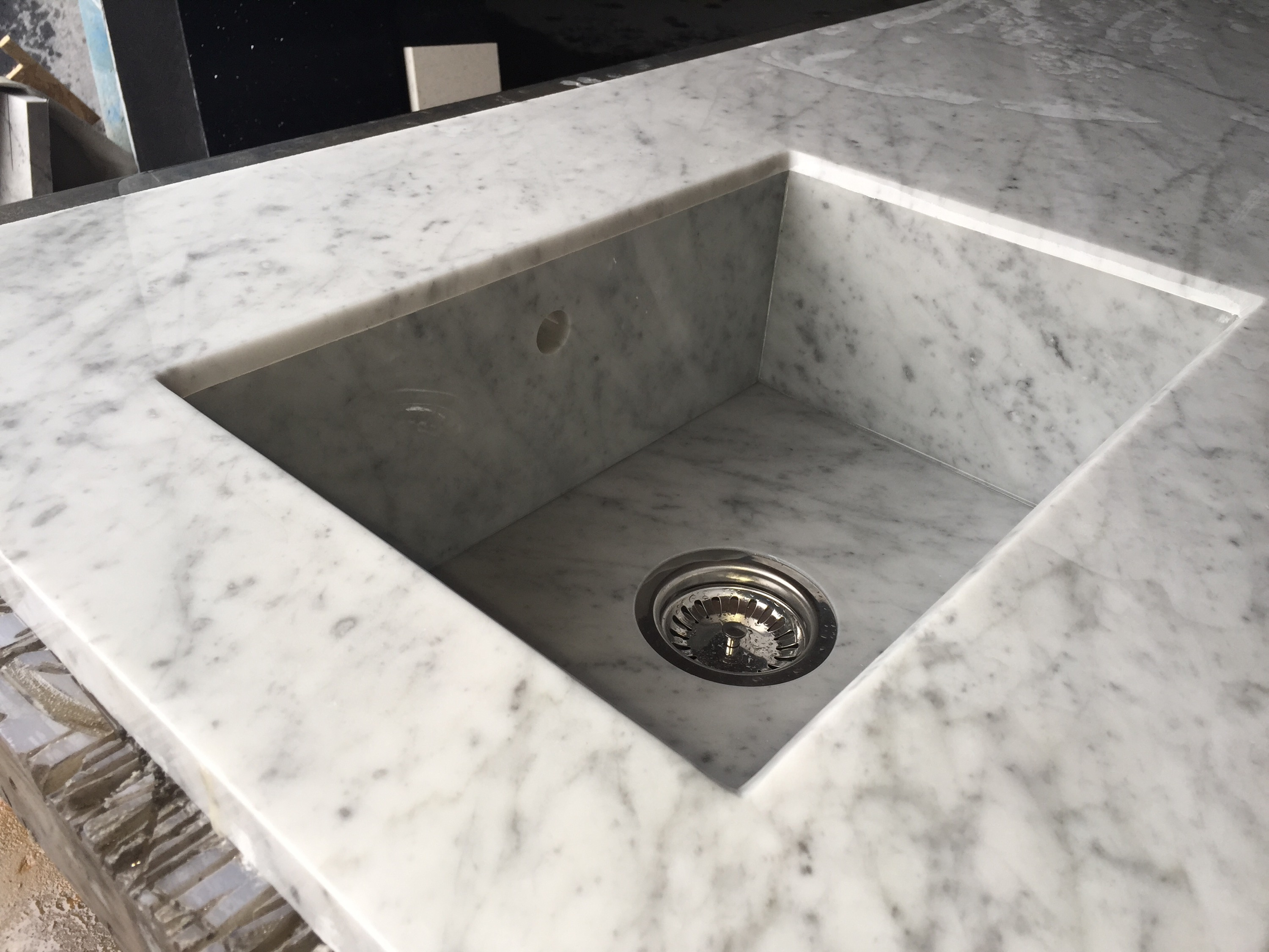 Bianca carrara sink for Silestone sink