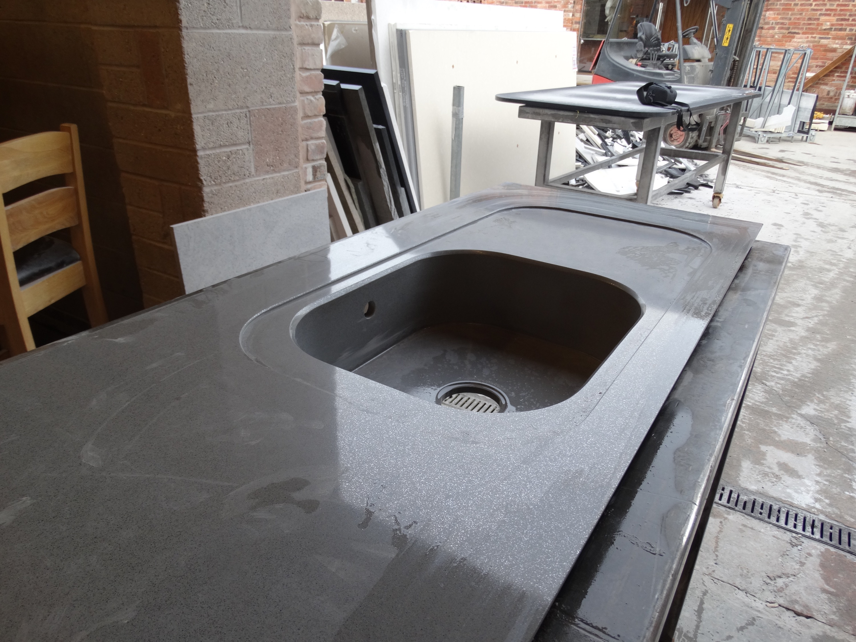 Silestone integrity sink with recess drainer for Silestone sink